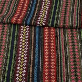 Ткань этно красные, оливковые, бордовые полоски с орнаментом, ш.150 оптом
