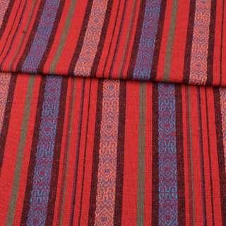 Ткань этно красные, черные, синие полоски с орнаментом, ш.146 оптом