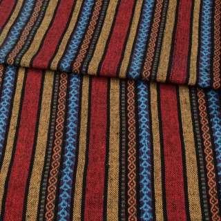 Ткань этно красные, желтые, фиолетовые полоски с орнаментом, ш.142 оптом