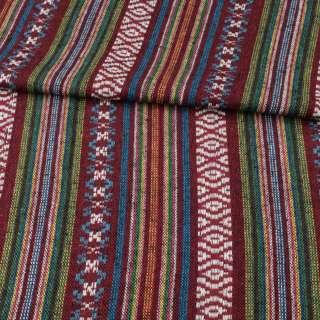 Ткань этно синие, зеленые, бордовые полоски с орнаментом, ш.150 оптом
