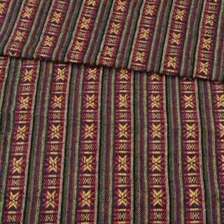 Ткань этно зеленые, фиолетовые полоски с орнаментом, ш.145 оптом