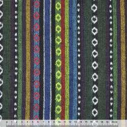 Ткань этно желтые, салатовые, синие полоски с орнаментом ш.150