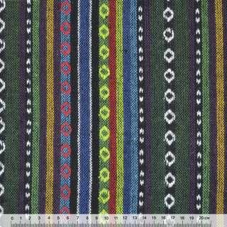 Ткань этно желтые, салатовые, синие полоски с орнаментом ш.150 оптом