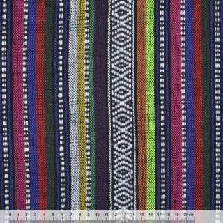 Ткань этно фиолетово-малиновые, оранжевые полоски с орнаментом ш.150 оптом