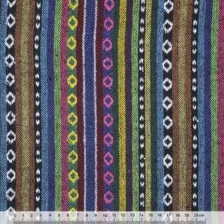 Ткань этно сине-терракотовые, зелено-черные полосы с орнаментом  ш.155 оптом