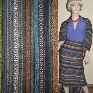 Ткань этно желто-синие, коричневые полосы с орнаментом ш.150 оптом