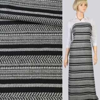 Ткань этно черно-белые полосы елочка, ш.148 оптом