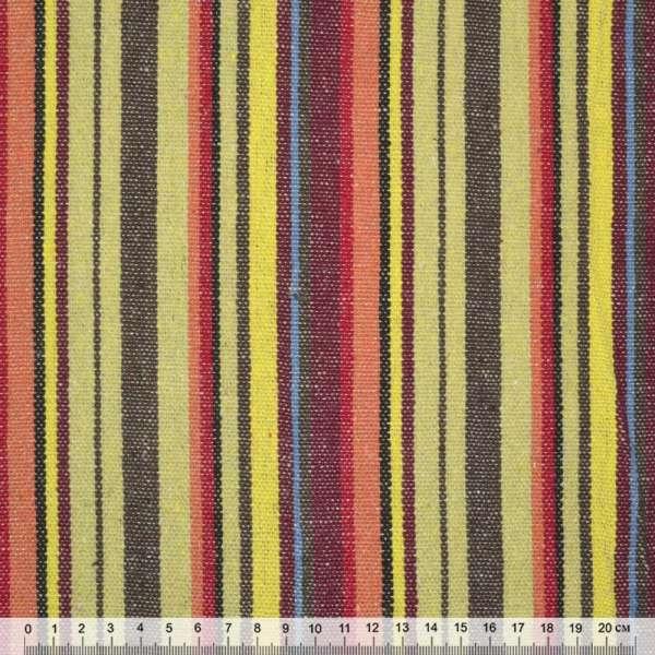 Ткань этно коричнево-желтые, бордово-красные полоски ш.150 оптом