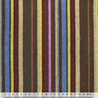 Ткань этно желто-синие, бежево-коричневые полоски ш.149 оптом
