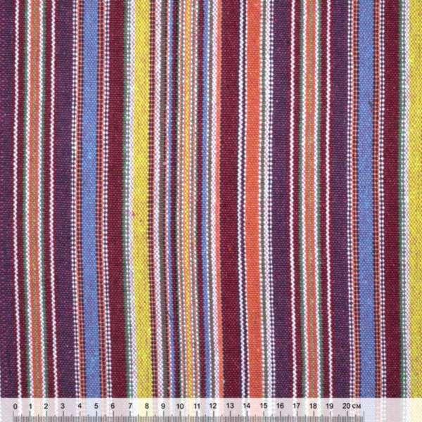 Ткань этно бордово-желтые, сиренево-голубые полоски ш.150 оптом