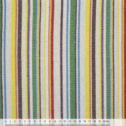 Ткань этно молочно-зеленые, коричнево-желтые полоски ш.145 оптом