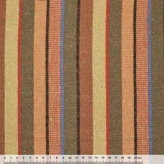 """ткань """"этно"""" оранжево-крас.+бежево-оливковые полоски ш.154 оптом"""