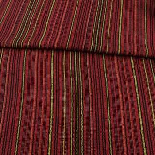 Ткань этно черная, красные, оранжевые, желтые полоски ш.150 оптом