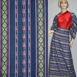 Ткань этно синяя в бело-красные полосы с орнаментом ш.150