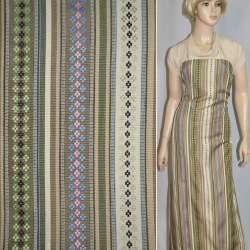Ткань этно молочно-бежевые полосы с орнаментом ш.150