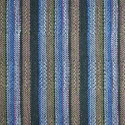 Ткань этно в темно-зеленую, голубую, розовую полоску, ш.150