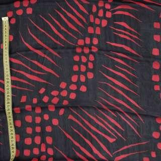 Віскоза чорна в червоний абстрактний малюнок оптом