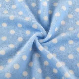 Велсофт односторонній блакитний в білий горох ш.180 оптом