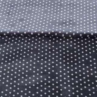 Велсофт односторонний сине-серый в белый горох, ш.180 оптом
