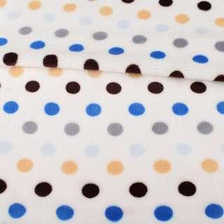 Велсофт односторонній білий в синій, сірий, коричневий горох, ш.180 оптом