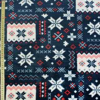 Велсофт двухсторонний синий темный в красно-белый орнамент ш.185 оптом