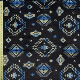Велсофт двухсторонний синий темный в бежево-голубой орнамент ш.185 оптом