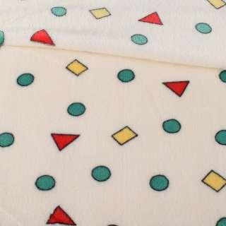 Велсофт двухсторонний молочный в цветные треугольники, кружочки, ш.180 оптом