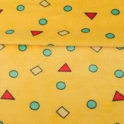 Велсофт двухсторонний желтый в цветные, треугольники, кружочки, ш.180