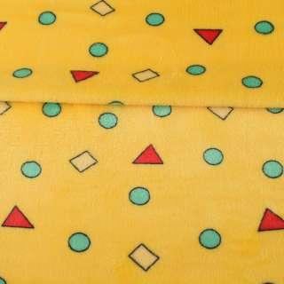 Велсофт двухсторонний желтый в цветные, треугольники, кружочки, ш.180 оптом