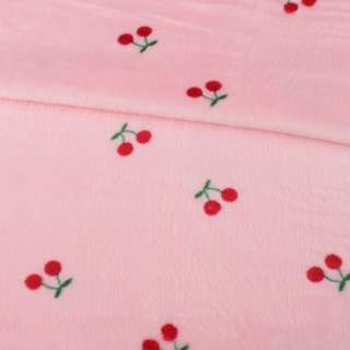 Велсофт двухсторонний розовый в красные вишни, ш.180 оптом
