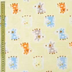 Велсофт двухсторонний кремовый, серые, голубые ослики, жирафы, ш.185