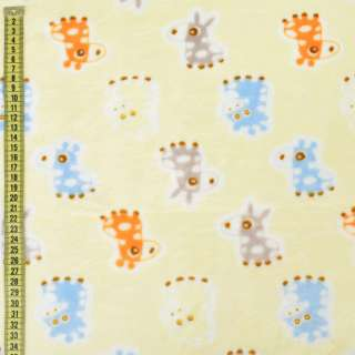 Велсофт двухсторонний кремовый, серые, голубые ослики, жирафы, ш.185 оптом