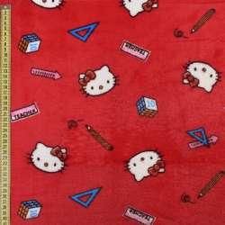 Велсофт двухсторонний красный, кошечки Китти, ш.185 оптом