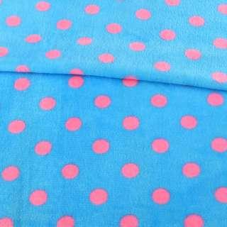 Велсофт двухсторонний голубой в розовый горох, ш.160 оптом