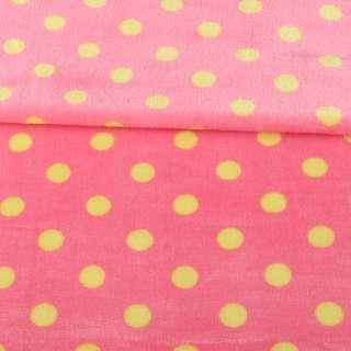 Велсофт двухсторонний розовый яркий в желтый горох, ш.160 оптом