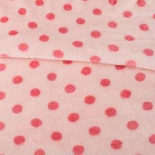 Велсофт двухсторонний персиковый в темно-розовый горох ш.160 оптом