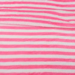 Велсофт двухсторонний белый в ярко-розовую полоску, ш.160