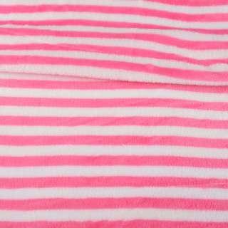 Велсофт двухсторонний белый в ярко-розовую полоску, ш.160 оптом