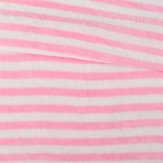 Велсофт двухсторонний белый в розовую полоску, ш.160 оптом