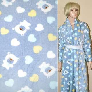 Велсофт-махра серо голубая с мишками и сердечками ш.190 оптом