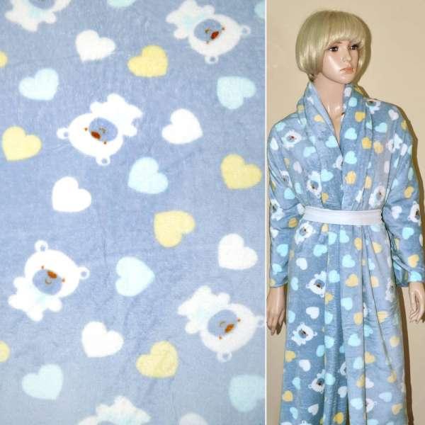 Велсофт-махра серо-голубая с мишками и сердечками ш.190 оптом