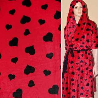 Велсофт-махра красная с черными сердцами ш.190 оптом