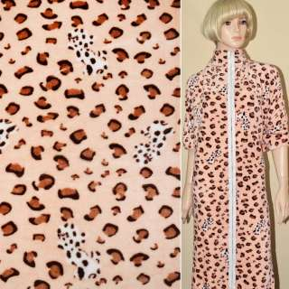 Велсофт-махра персиковая принт леопард ш.190 оптом