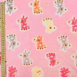 Велсофт двухсторонний розовый, оранжевые, розовые ослики, жирафы, ш.185 оптом