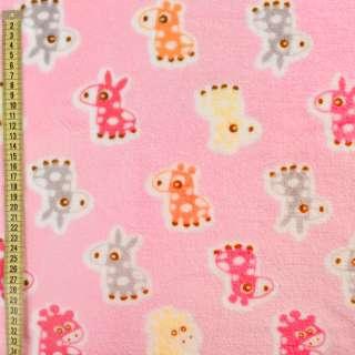 Велсофт розовый, оранжевые, розовые ослики, жирафы, ш.185 оптом