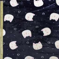 Велсофт двухсторонний синий темный, белые кошки, сердечки, ш.185 оптом