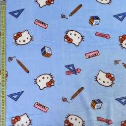 Велсофт двухсторонний голубой, кошечки Китти, ш.185 оптом