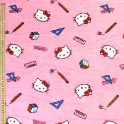 Велсофт двухсторонний розовый светлый, кошечки Китти, ш.185 оптом