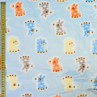 Велсофт двосторонній блакитний, помаранчеві, блакитні ослики, жирафи, ш.185 оптом