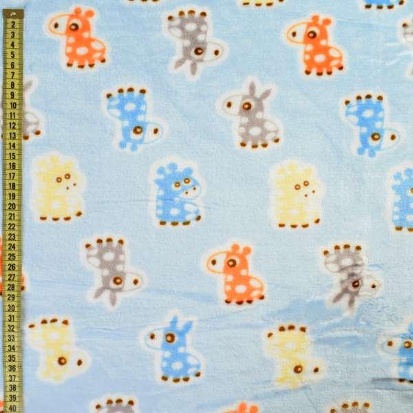 Велсофт двухсторонний голубой, оранжевые, голубые ослики, жирафы, ш.185 оптом